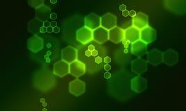 Bokeh verde do hexogon Fotos de Stock Royalty Free