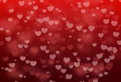 Bokeh vermelho da forma do coração com feriado dos Valentim no fundo abstrato vermelho foto de stock royalty free