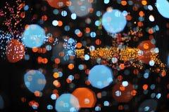 Bokeh vom Licht der Birne im Parteifestivalereignis Lizenzfreie Stockfotos