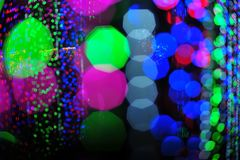 Bokeh vom Licht der Birne im Parteifestivalereignis Lizenzfreie Stockbilder