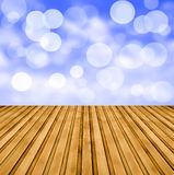 Bokeh on wooden floor Royalty Free Stock Photo