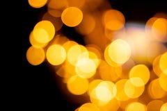 Bokeh of yellow light in the night