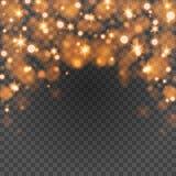 Bokeh zaświeca - pomarańcze błyska na przezroczystości tła wektoru ilustraci Zdjęcia Royalty Free