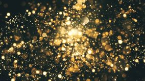 Bokehs Explosion Intro. With golden particles and bokehs stock footage