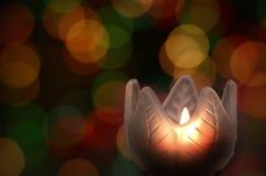 bokehstearinljuslampa Royaltyfria Bilder
