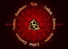 Boken av skuggor rullar av den moderna hedendomen Wicca för året Wiccan kalender och ferier Kompass med i det mellersta Triquetra stock illustrationer