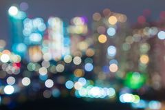 Boken city skyline night club venue.  Night life. Royalty Free Stock Photo