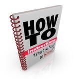 boken gör hur anvisningshandboken till dig stock illustrationer