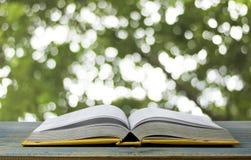 Boken på wood tabell- och gräsplanbokehbakgrund, begrepp som öppningspapper ska se kunskap av världen som på eget hand lär arkivfoton