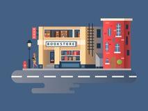 Boken shoppar byggnad stock illustrationer