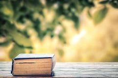 Boken som lämnas i trädgården Royaltyfri Fotografi