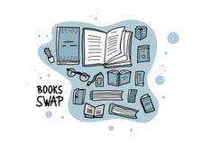 Boken Swap hanwritten att märka för designeps för 10 bakgrund vektor för tech vektor illustrationer