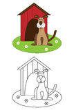 bokfärgläggninghunden lurar sidan Arkivfoton