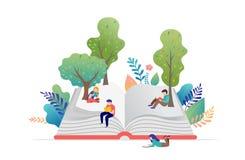 Bokfestivalbegrepp - en grupp av mycket litet folk som läser en enorm öppen bok Vektorillustration, affisch och baner vektor illustrationer