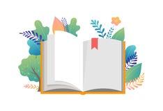 Bokfestivalbegrepp - en grupp av mycket litet folk som läser en enorm öppen bok Vektorillustration, affisch och baner stock illustrationer