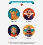 Bokhandelämnen, plana symboler och tecken Royaltyfri Foto