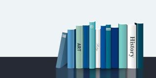 Bokhandel inomhus Realistisk illustration för vektor 3D blå design Arkivbilder
