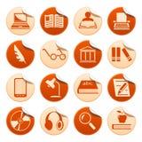 Bokhandstil- och läsningklistermärkear Arkivbilder