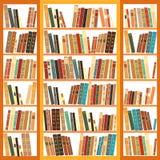 Bokhylla mycket av böcker Arkivfoto