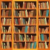Bokhylla mycket av böcker Royaltyfri Bild