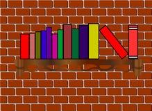 Bokhyllan med böcker på tegelstenbakgrunden Royaltyfria Bilder