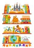 Bokhyllor med böcker i ruminre Det hem- arkivet med litteratur, sagor skolar illus för vektor för lärobokutbildningsutbildning stock illustrationer