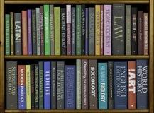 Bokhyllor med olika böcker. Royaltyfri Foto