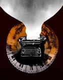 Bokillustration med typmaskinen Royaltyfri Fotografi