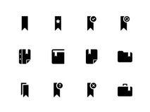 Bokmärke etikett, favorit- symboler på vit bakgrund. royaltyfri illustrationer