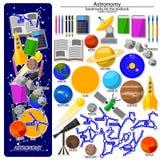 Bokmärkeskapelsesats på astronomiskolatemat vektor illustrationer