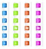 Bokmärkear med systemsymboler i fyra färger Arkivfoton