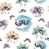 Bokobrodów mężczyzna tekstura Wąsy tło bezszwowy wzoru Kształtny rysunkowy handwork Zdjęcie Royalty Free