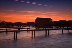 Bokodi lake in the sunset. In Hungary Stock Image
