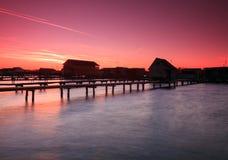 Bokodi sjö i solnedgången Fotografering för Bildbyråer