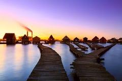 Bokodi sjö i solnedgången Arkivbilder