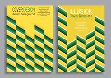 Bokomslagmallar för gul gräsplan med optisk rörelseillusion planlägger vektor illustrationer