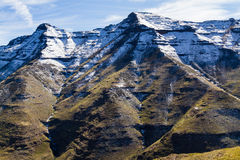 Bokong Snowy Peaks. Snow capped mountain peaks in the Bokong Nature Reserve near the Mafika Lisiu Pass in Leribe, Lesotho stock photos