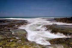 Bokor strandBayah Banten Sawarna strand Indonesien Arkivfoton