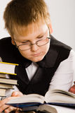 bokpojke som ser den smart avläsningsskolan Royaltyfri Bild