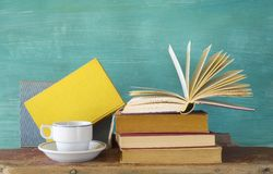 Books with a cup of coffee Royalty Free Stock Image