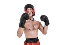 Bokser jest ubranym medalu spełniania bokserską postawę obraz royalty free