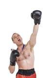 Bokser jest ubranym złotego medalu spełniania bokserską postawę zdjęcia stock
