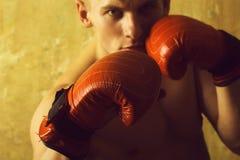 Bokser, mężczyzna, z nagą klatką piersiową w czerwieni, uderza pięścią rękawiczki obrazy stock