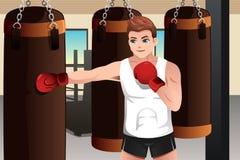 Bokser opleiding in de gymnastiek stock illustratie