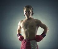 Bokser z czerwonymi rękawiczkami fotografia royalty free