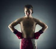 Bokser z czerwonymi rękawiczkami Fotografia Stock