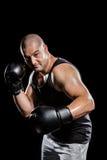 Boksera spełniania bokserska postawa obraz stock