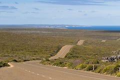Bokseraandrijving, winderige golvende rijweg op Kangoeroeeiland, Zuiden Austra royalty-vrije stock afbeelding