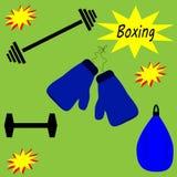 Bokserscy gym przedmioty ilustracja wektor