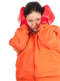 bokserska gruba rękawiczek nadwaga kobieta Zdjęcie Royalty Free